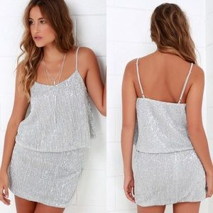 NWT Lulu's Silver Sequin Two-Piece Dress skirt top